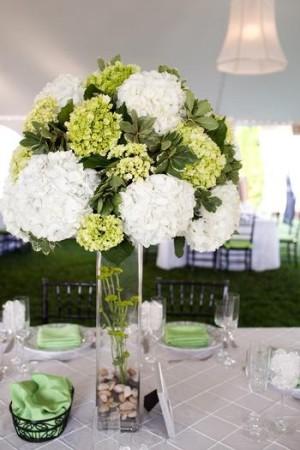 stunning white and green hydrangea centerpiece