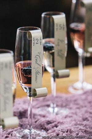 hi note champagne flute escort cards