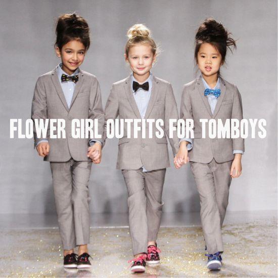 Flower girls in tuxes