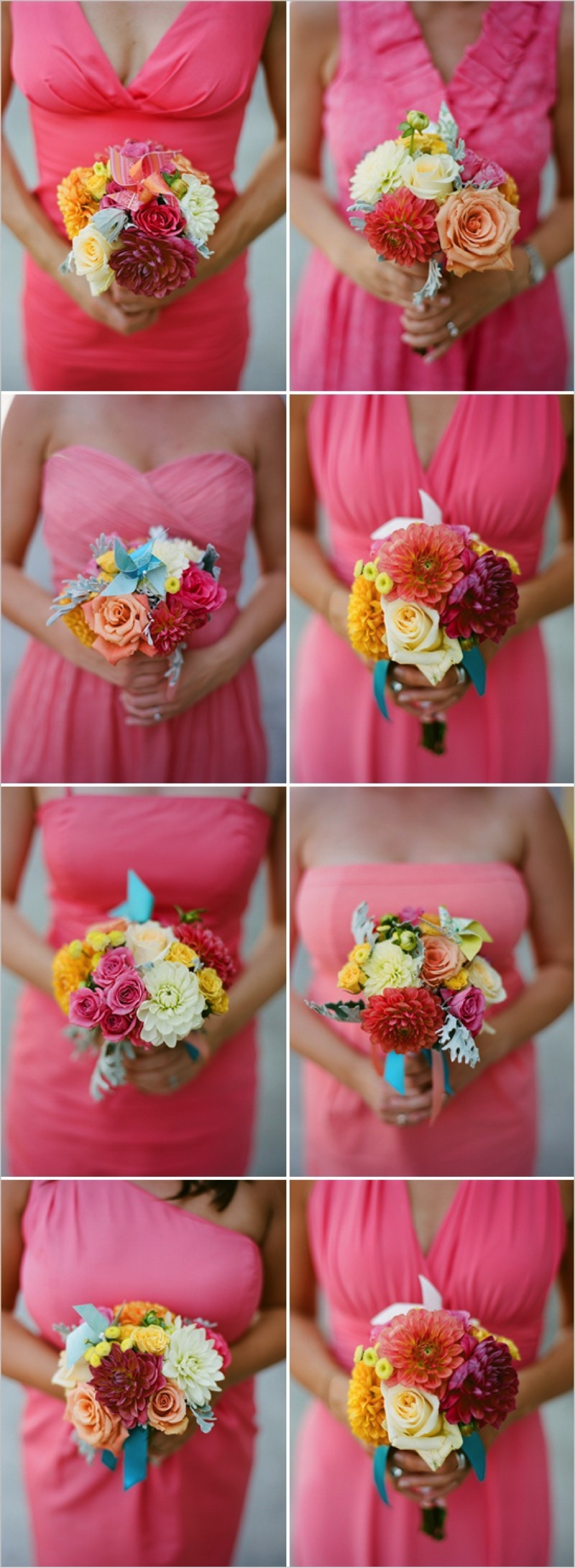 Bridesmaid bouquets arranged by Brocade Designs, a StudioWed vendor.